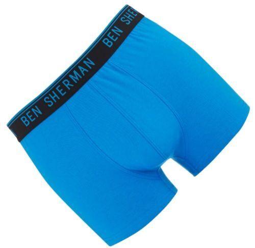 BEN SHERMAN Mens Anton 1 Pack Boxer Hipster Trunk Underwear Blue Large 36-38