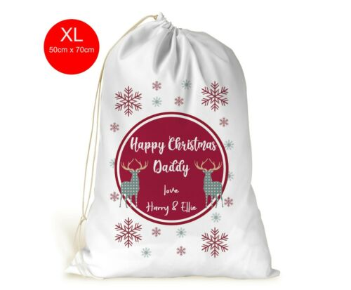 Personalised XL Drawstring Christmas Sack//Stocking//Daddy//Grandad//Mummy//Deers