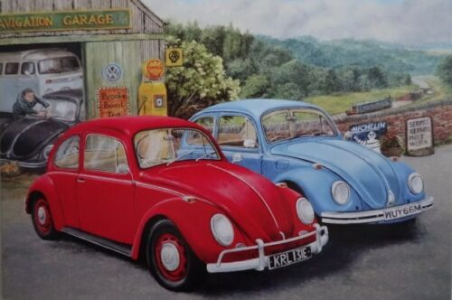 V W Beetles 1967 /& 1973 Red and Blue Greeting Card Blank