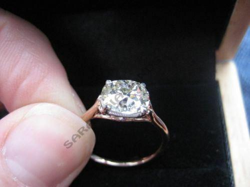 Vintage 1.25 Ct Round Cut Engagement Diamond Wedding Ring 14K Rose Gold Over