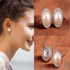 Fashion 1 Pair Women Elegant Silver Pearl Crystal Rhinestone Ear Stud Earrings +