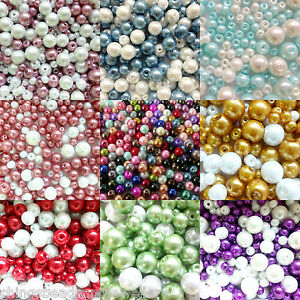 Glass-Pearl-beads-mixed-colours-4mm-6mm-8mm-10mm-choose-your-colour