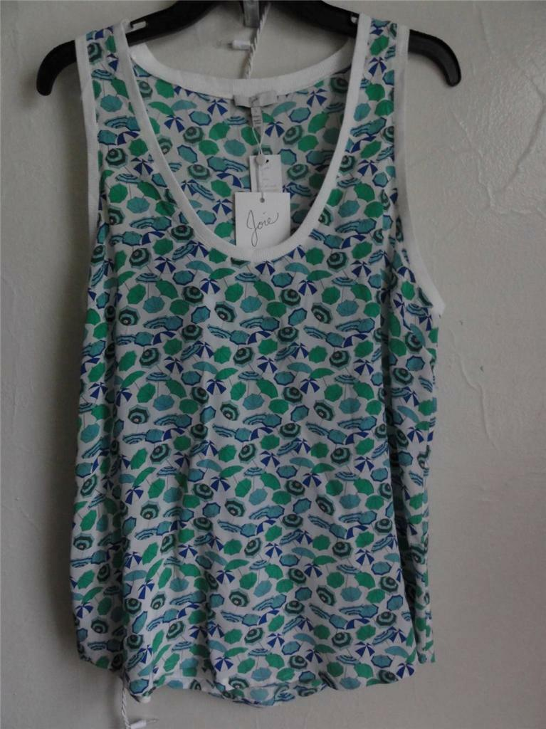 JOIE SLEEVELESS SILK RAIN TANK TOP, Jungle Grün, Größe L, MSRP