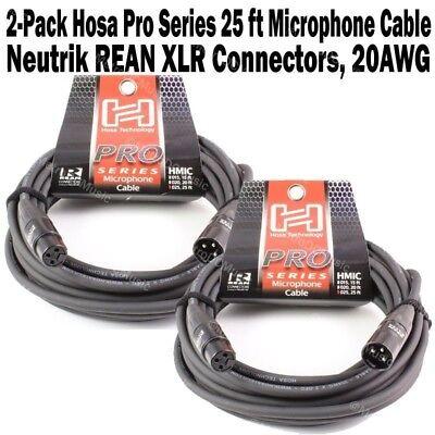 4-Pack Hosa Pro Series 20 ft XLR Microphone Cable Neutrik REAN 3 Pin Cord NEW