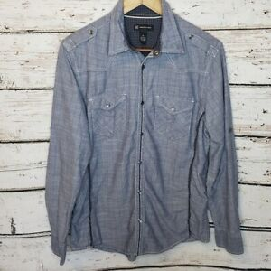 INC-International-Concepts-Button-Up-Long-Sleeve-Shirt-Pearl-Snaps-Blue-Medium