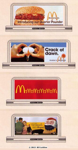 4 billboard roadside signs, HO or OO scale #67/68, McDonalds and PEPSI