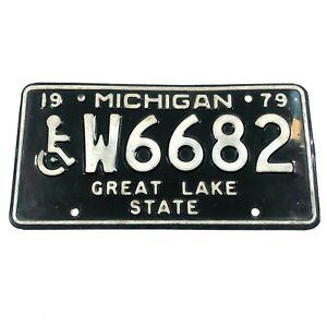 Vintage-Michigan-1979-Behinderte-Invalide-Nummernschild-Tag-W6682-Selten-Vintage