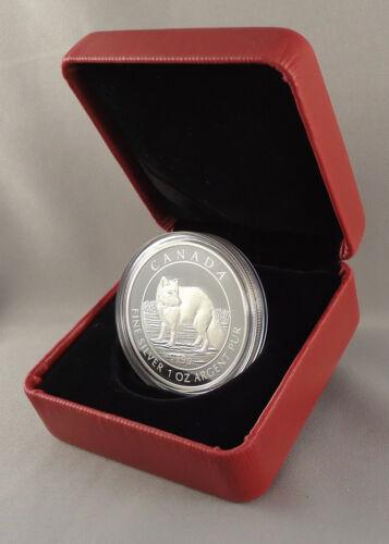 99.99/% Pure Silver Proof Numismatic Coin Canada 2014 $5 Arctic Fox 1 oz