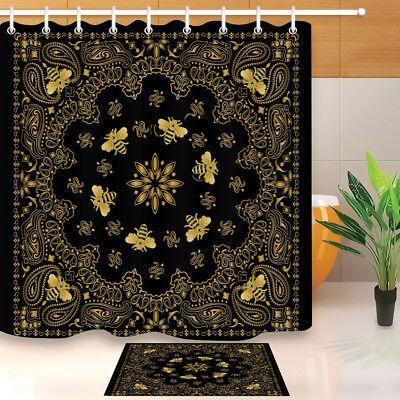 """Paisley Patchwork Flower Waterproof Fabric Bath Shower Curtain Hooks Mat 60//72/"""""""