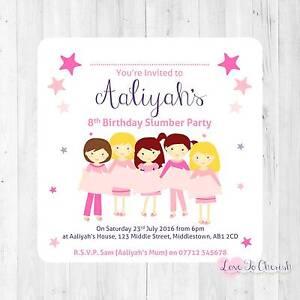 Image Is Loading Personalised INVITATIONS Girly Slumber Sleepover Girl 039 S