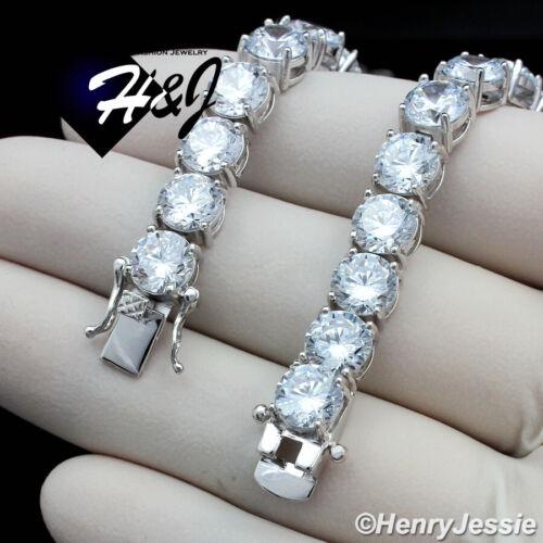 "8.5/""MEN 925 STERLING SILVER 7MM ICY DIAMOND 1 ROW TENNIS CHAIN BRACELET*SB1"