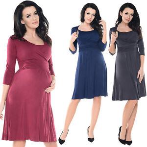74aa9fc447396 Purpless Maternity 2in1 Pregnancy & Nursing 3/4 Sleeved Skater Dress ...