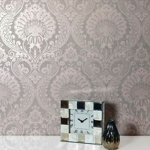 Luxe Damask Wallpaper In Dusky Rose By Arthouse 910306 Metallic Floral Grey Ebay