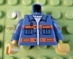 Lego New Dark Blue Minifig Torso Open Shirt Pocket over Dark Blue White Striped