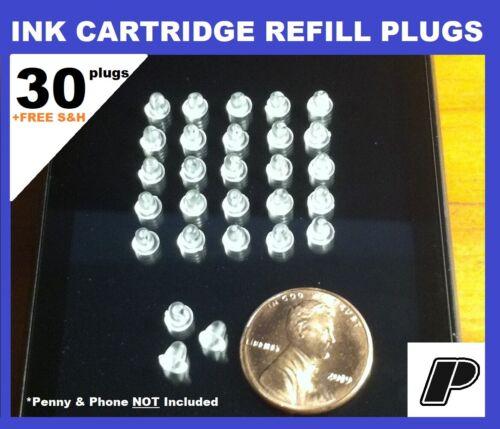Printer Ink Cartridge Refill Plugs Silicone Rubber Plastic Easy DIY 30 plugs