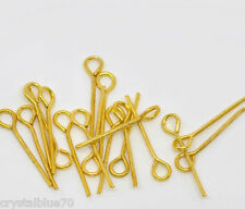 500 x Eye Pins Gold Plated 24mm Eyepin Crafts Findings Special Offer -  GPEP24