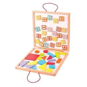 Lernspielzeug Baby Erfinderisch Bigjigs Toys Bj439 Kasten Mit Magnetischen Zahlen Und Formen Neu & Ovp!