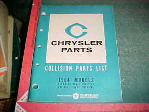 1964 Chrysler Car Collision Part List Valiant Plymouth Dodge Dart