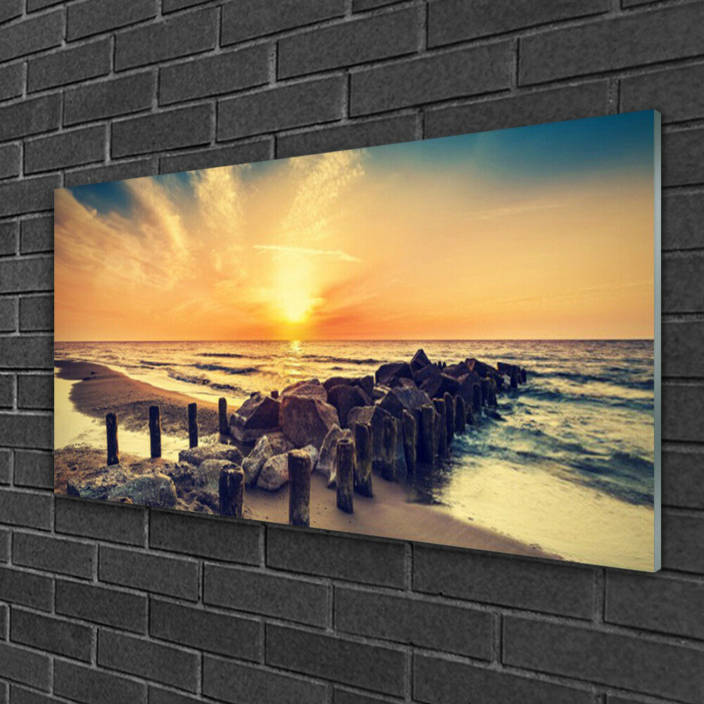 Tableau sur verre Image Impression 100x50 Paysage Plage Mer Pierres