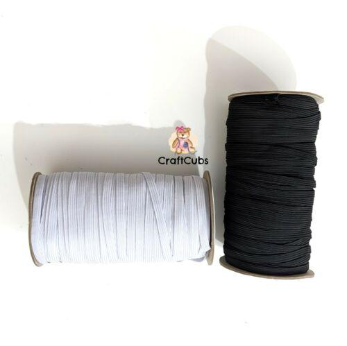White 80 yard roll 6mm High Quality 8 Cord Braided Elastic