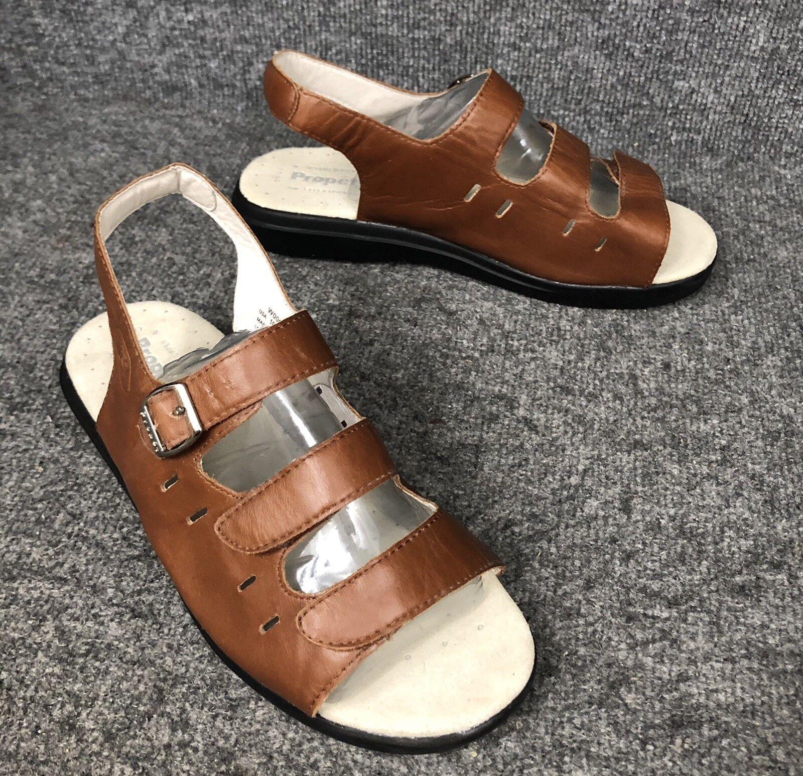 Propet Breeze Brown Leather Adjustable 3 Strap Sandals Womens Sz 10 XX (4E) EUC
