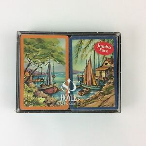 Sailboats-Hoyle-Plastic-Coated-Double-Deck-Playing-Swap-Cards-Jumbo-Face-Vtg-70s