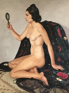 STUNNING-1930-039-S-FRENCH-SIGNED-LARGE-OIL-NUDE-YOUNG-LADY-SEATED-EXOTIC-ROBES