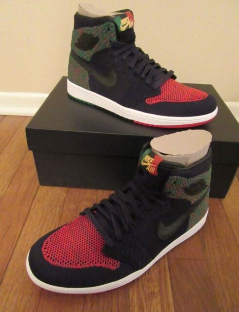 049995c5e8e43 Nike Air Jordan 1 Retro Hi Flyknit BHM Size 10 Black Black Pine Green  Aa2426 026 for sale online