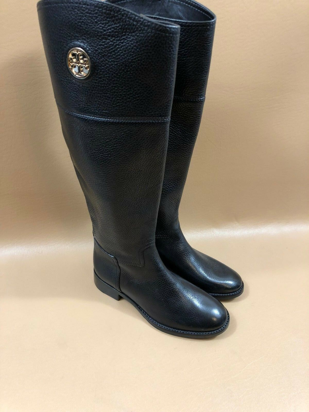 88 Tory Burch Black Logo Plate Riding Boots Size 5.5 M
