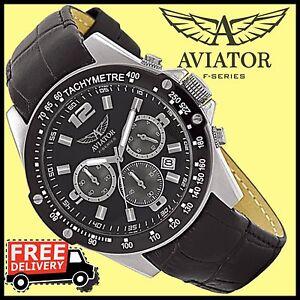 AVIATOR-Armbanduhr-AVW3100G100-Herrenuhren-Fliegeruhr-Quartz-Echt-Leder-UVP-129