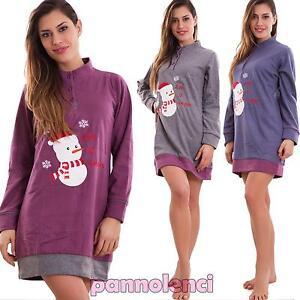 Vestaglia-donna-pupazzo-neve-camicia-notte-pigiama-intimo-felpata-nuovo-1239-MOD