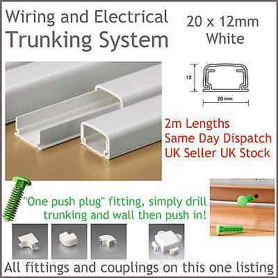 White Electrical Trunking System Cable Ducting Wiring Conduit 20 X 12mm 2m Long Ebay