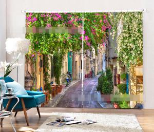 3D ciudad callejón 6 Cortinas de impresión de cortina de foto Blockout Tela Cortinas Ventana CA