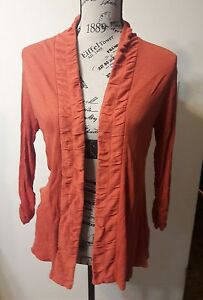 Women-039-s-Coldwater-Creek-Size-S-Small-6-8-Orange-Open-Front-Cardigan-Top
