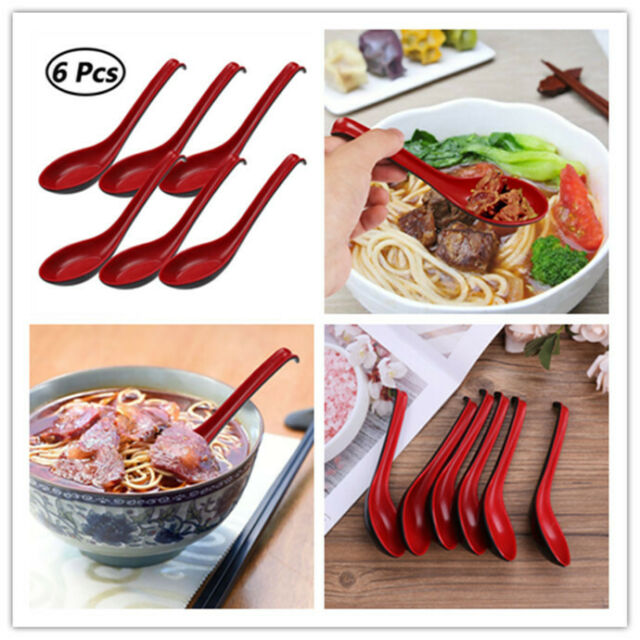 6 Pcs Red Soup Spoons Asian Chinese Japan Long Handle Flatware Kitchen Utensils