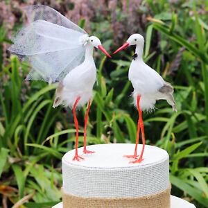 Details about White Crane Wedding Cake Topper: Bride & Groom Love Birds -  Stork, Egret, Heron