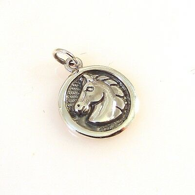 .925 Sterling Silver HORSE HEAD ON Round DISC CHARM NEW Equestrian Pendant HS04