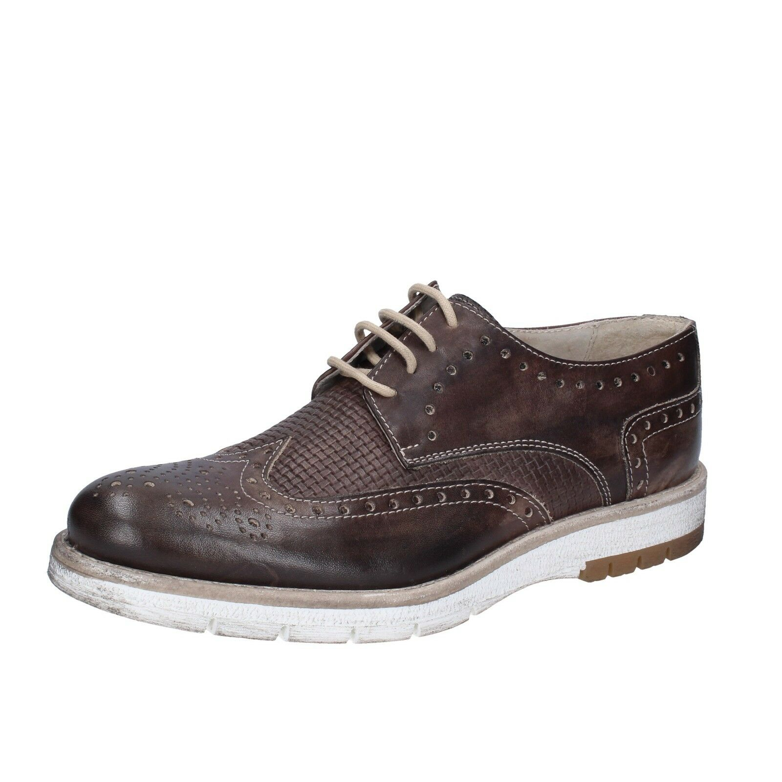 Mens shoes OSSIANI 8 (EU 42) elegant brown leather BT877-42
