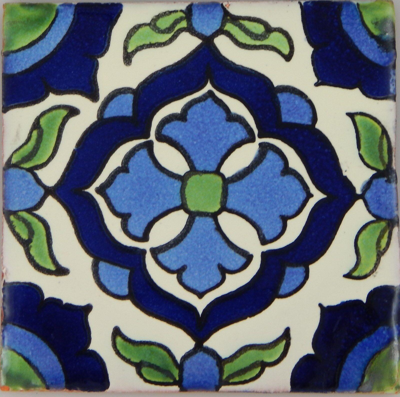 90 Ceramic Clay  Mexican Tiles Talavera 4x4