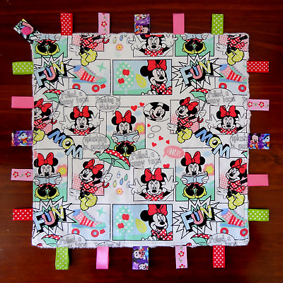 Minnie Mouse Taggie Taggy Tag Blanket Toy Comforter dummy holder LARGE SIZE