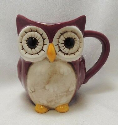Adorable Owl Coffee Mug Cup 16 oz Figural 3-D Burgundy Hand Painted Cute New
