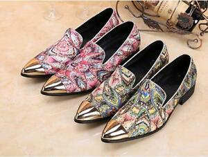 Cover Plus Size 5-12 Brown Genuine Leather Floral Dress Oxfords Lace Up Pointed Toe Mens Shoes