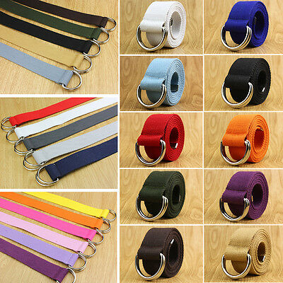 38mm Fashion Fabric Webbing Waist Casual Unisex Double Loop Buckle Canvas Belt
