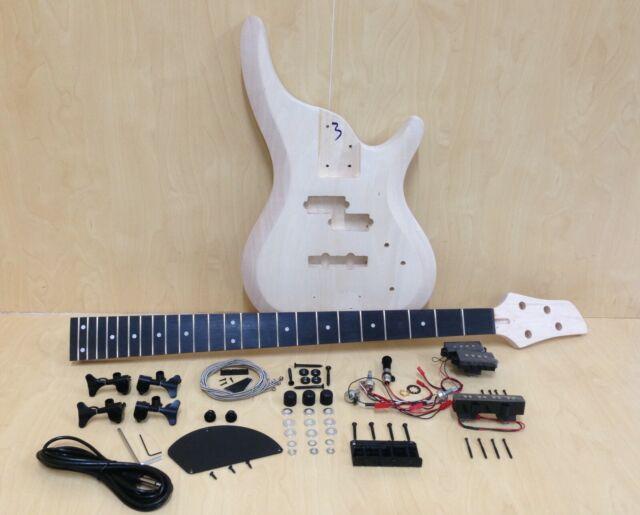 Complete NO-SOLDER DIY Kit-4/4 Size Electric Bass Guitar+Tuner,3 Picks B-325DIY
