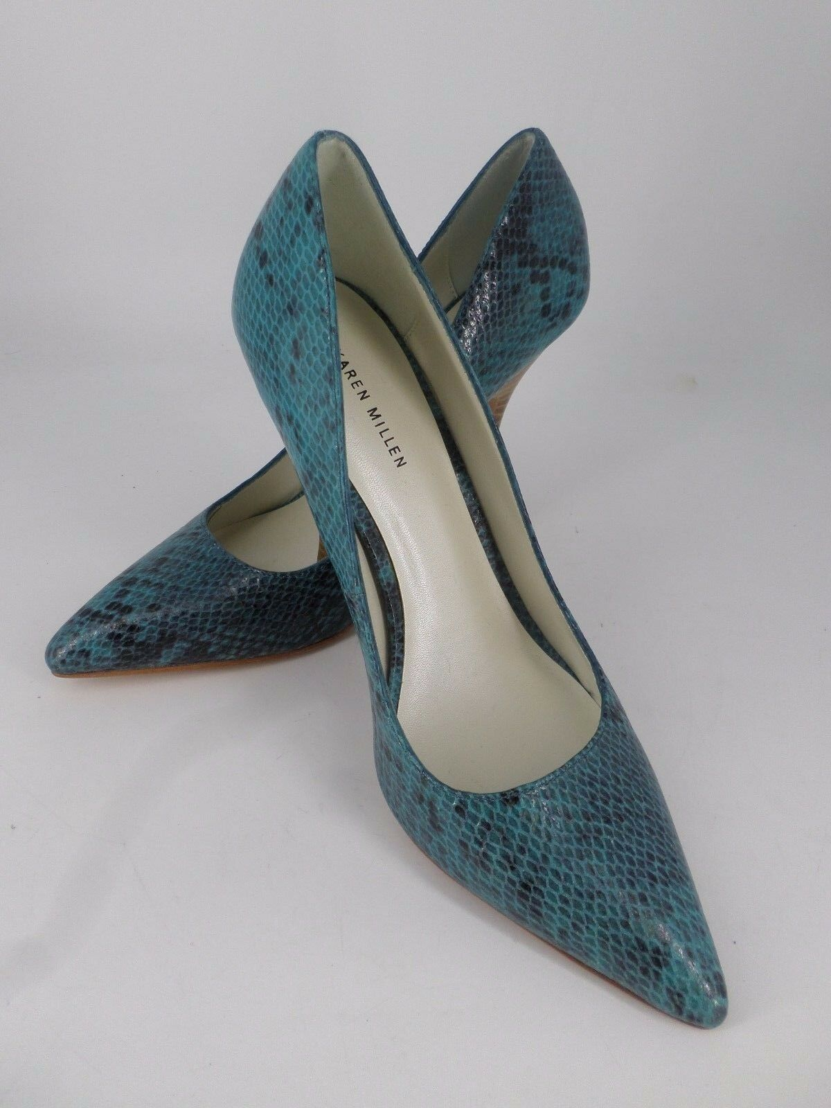 Karen Millen Turquise Snake Skin Effect Court Schuhes UK 83 6 EU 39 LN19 83 UK 3bad94
