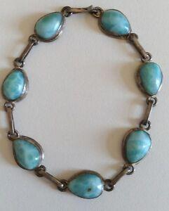 Ancien-bracelet-en-argent-massif-et-cabochons-larimar