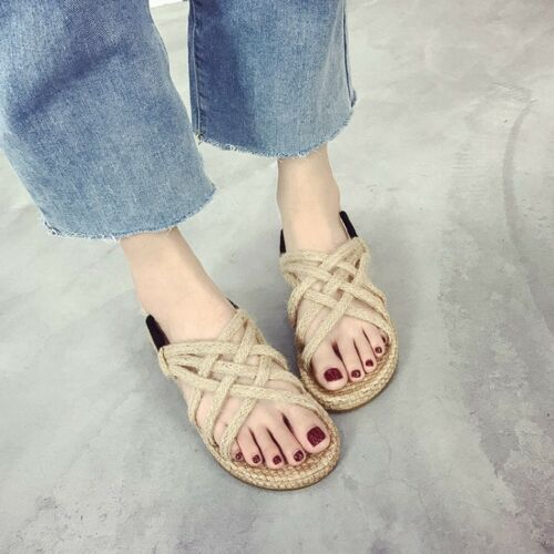 Roma Women's Summer Flipflop Casual Flat Beach Woven Sole Shoes Sandals Size US