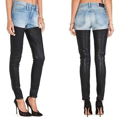Wildfox Couture Onyx Coated Faux Leather Denim Jeans Skinny  Jeggings Pants