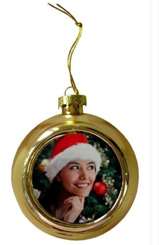 Personalised printed Photo Christmas Baubles Red or Gold