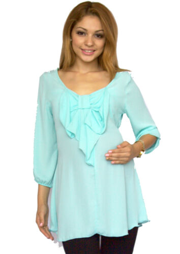 Chiffon Sheer Maternity Top With Long Sleeve Solid Womens Blouse Blue BowTie